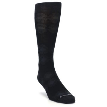 Image of Black Agano Diamond Wool Men's Casual Socks (side-1-front-02)