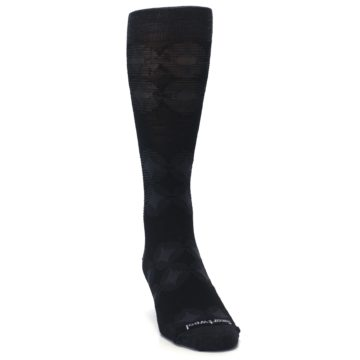 Image of Black Agano Diamond Wool Men's Casual Socks (side-1-front-03)