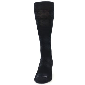 Image of Black Agano Diamond Wool Men's Casual Socks (front-05)