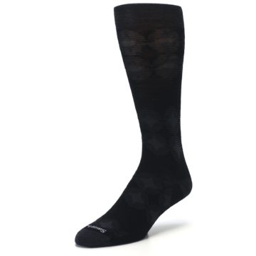 Image of Black Agano Diamond Wool Men's Casual Socks (side-2-front-08)
