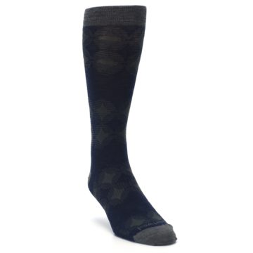Image of Deep Navy Agano Diamond Wool Men's Casual Socks (side-1-front-02)