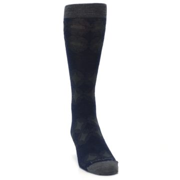 Image of Deep Navy Agano Diamond Wool Men's Casual Socks (side-1-front-03)