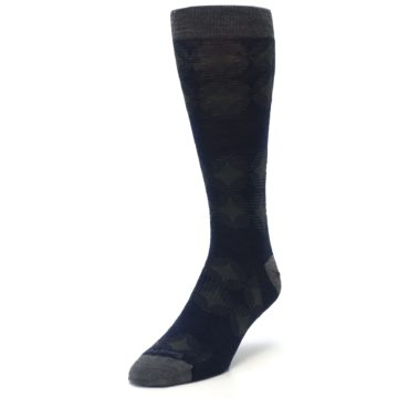 Image of Deep Navy Agano Diamond Wool Men's Casual Socks (side-2-front-07)