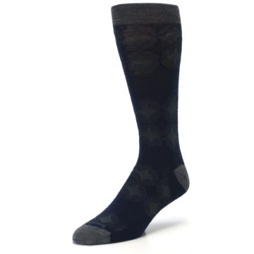Image of Deep Navy Agano Diamond Wool Men's Casual Socks (side-2-front-08)
