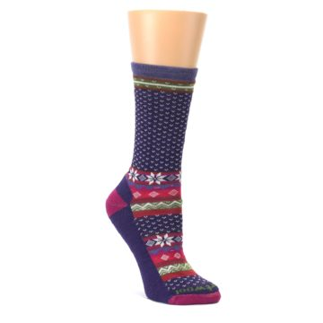 Purple-Pink-Nordic-Wool-Womens-Casual-Socks-Smartwool