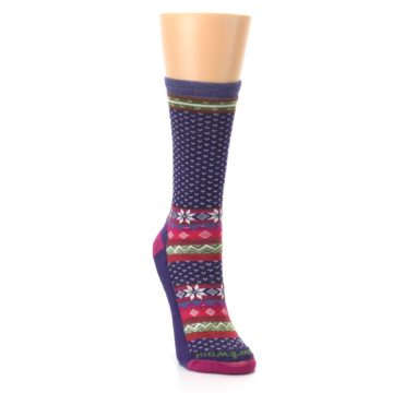 Image of Purple Pink Nordic Wool Women's Casual Socks (side-1-front-03)