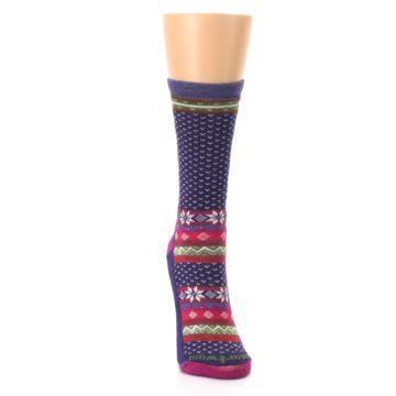 Image of Purple Pink Nordic Wool Women's Casual Socks (front-04)