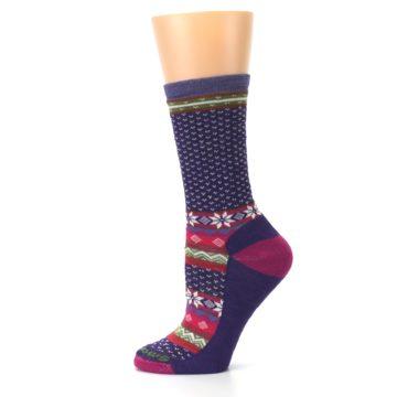 Image of Purple Pink Nordic Wool Women's Casual Socks (side-2-12)