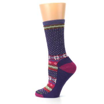 Image of Purple Pink Nordic Wool Women's Casual Socks (side-2-13)