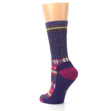 Image of Purple Pink Nordic Wool Women's Casual Socks (side-2-back-15)