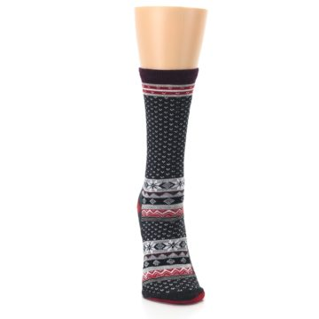 Image of Charcoal Red Nordic Wool Women's Casual Socks (front-04)