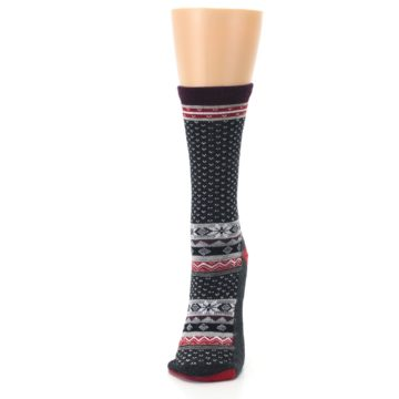 Image of Charcoal Red Nordic Wool Women's Casual Socks (side-2-front-06)