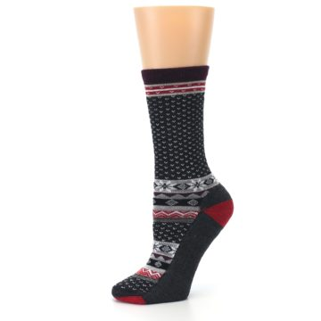 Image of Charcoal Red Nordic Wool Women's Casual Socks (side-2-10)