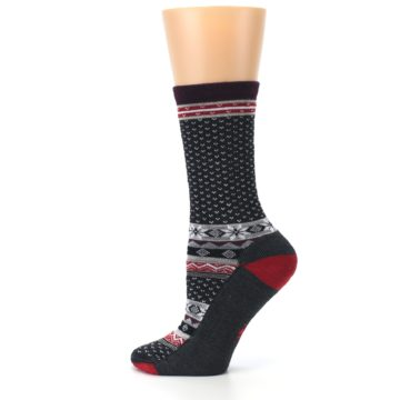 Image of Charcoal Red Nordic Wool Women's Casual Socks (side-2-12)