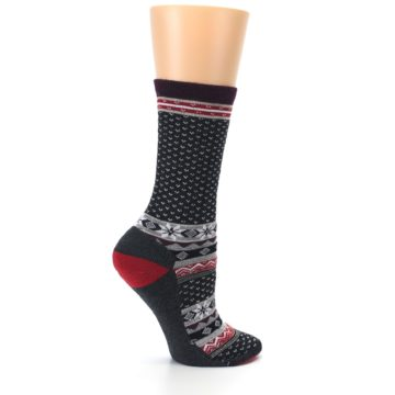 Image of Charcoal Red Nordic Wool Women's Casual Socks (side-1-24)