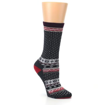 Image of Charcoal Red Nordic Wool Women's Casual Socks (side-1-27)