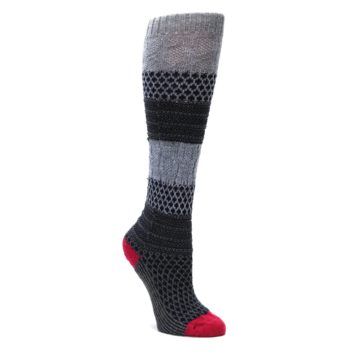 Image of Gray Navy Popcorn Cable Wool Women's Knee High Socks (side-1-front-01)