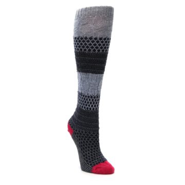 Image of Gray Navy Popcorn Cable Wool Women's Knee High Socks (side-1-front-02)