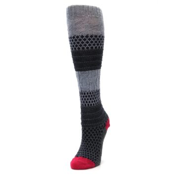 Image of Gray Navy Popcorn Cable Wool Women's Knee High Socks (side-2-front-08)