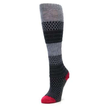 Image of Gray Navy Popcorn Cable Wool Women's Knee High Socks (side-2-09)