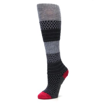 Image of Gray Navy Popcorn Cable Wool Women's Knee High Socks (side-2-10)