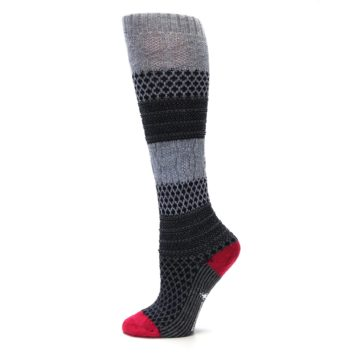 Image of Gray Navy Popcorn Cable Wool Women's Knee High Socks (side-2-12)