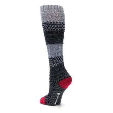 Image of Gray Navy Popcorn Cable Wool Women's Knee High Socks (side-2-back-15)