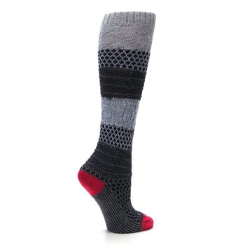 Image of Gray Navy Popcorn Cable Wool Women's Knee High Socks (side-1-24)