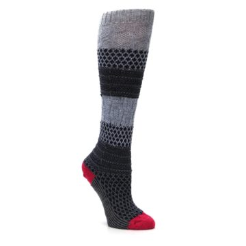 Image of Gray Navy Popcorn Cable Wool Women's Knee High Socks (side-1-27)