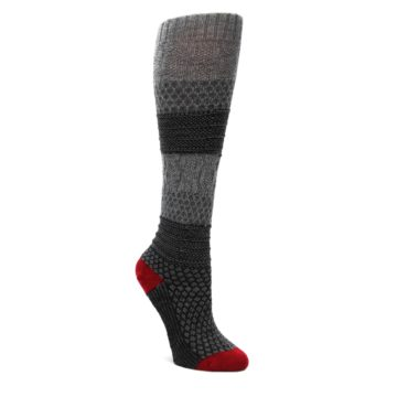 Gray-Charcoal-Popcorn-Cable-Wool-Womens-Knee-High-Socks-Smartwool