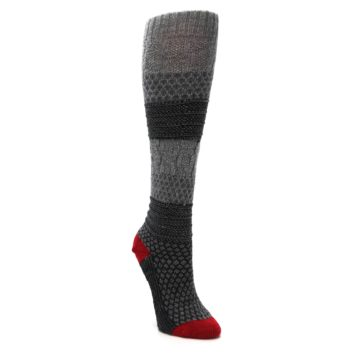 Image of Gray Charcoal Popcorn Cable Wool Women's Knee High Socks (side-1-front-02)