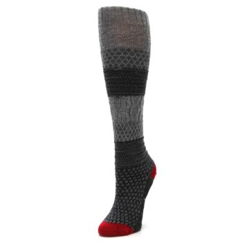 Image of Gray Charcoal Popcorn Cable Wool Women's Knee High Socks (side-2-front-08)