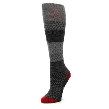 Image of Gray Charcoal Popcorn Cable Wool Women's Knee High Socks (side-2-09)