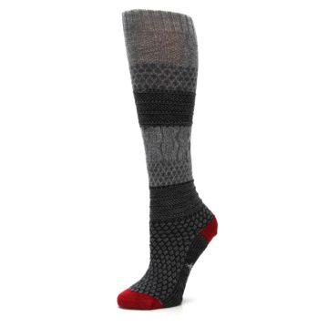 Image of Gray Charcoal Popcorn Cable Wool Women's Knee High Socks (side-2-10)