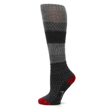 Image of Gray Charcoal Popcorn Cable Wool Women's Knee High Socks (side-2-12)