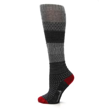 Image of Gray Charcoal Popcorn Cable Wool Women's Knee High Socks (side-2-13)