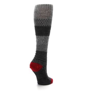 Image of Gray Charcoal Popcorn Cable Wool Women's Knee High Socks (side-1-back-22)