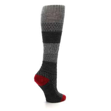 Image of Gray Charcoal Popcorn Cable Wool Women's Knee High Socks (side-1-23)