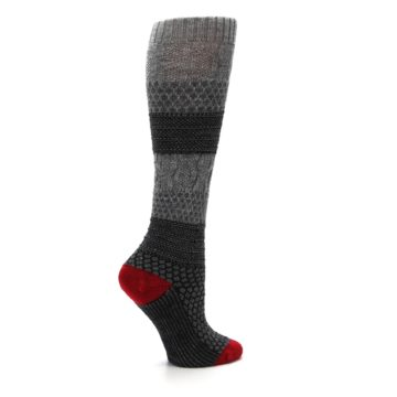 Image of Gray Charcoal Popcorn Cable Wool Women's Knee High Socks (side-1-24)