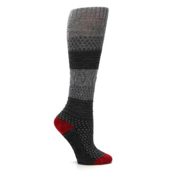 Image of Gray Charcoal Popcorn Cable Wool Women's Knee High Socks (side-1-25)