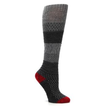 Image of Gray Charcoal Popcorn Cable Wool Women's Knee High Socks (side-1-26)