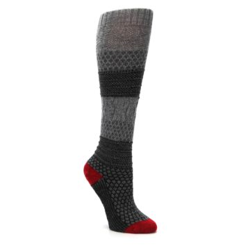 Image of Gray Charcoal Popcorn Cable Wool Women's Knee High Socks (side-1-27)