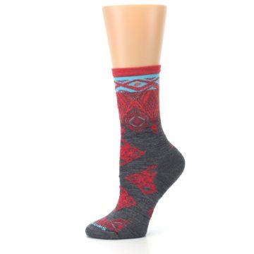 Image of Gray Red Diamond Wool Women's Casual Socks (side-2-11)