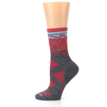 Image of Gray Red Diamond Wool Women's Casual Socks (side-2-12)