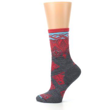 Image of Gray Red Diamond Wool Women's Casual Socks (side-2-13)