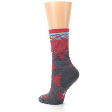 Image of Gray Red Diamond Wool Women's Casual Socks (side-2-back-15)