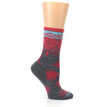 Image of Gray Red Diamond Wool Women's Casual Socks (side-1-25)