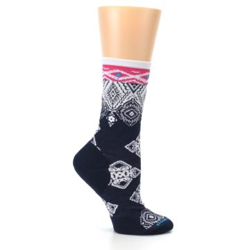 Image of Navy White Pink Diamond Wool Women's Casual Socks (side-1-25)