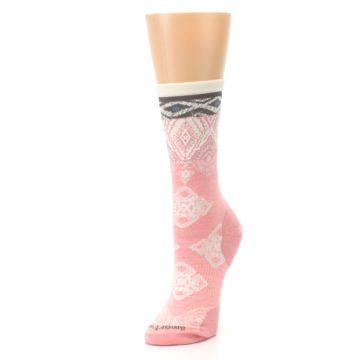 Image of Pink Cream Diamond Wool Women's Casual Socks (side-2-front-08)