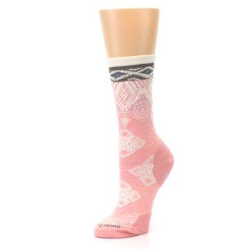 Image of Pink Cream Diamond Wool Women's Casual Socks (side-2-09)
